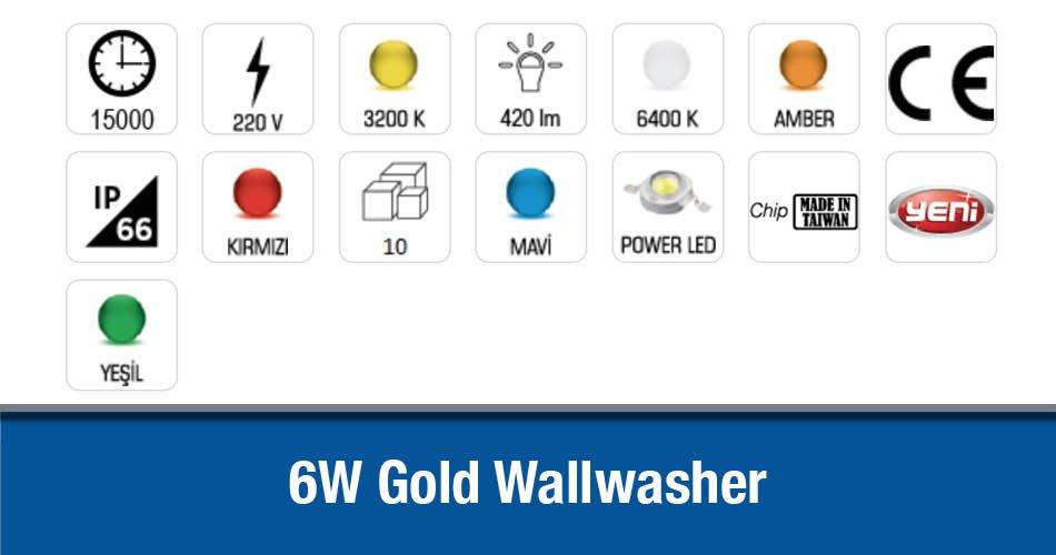 6W Gold 18.5 Cm