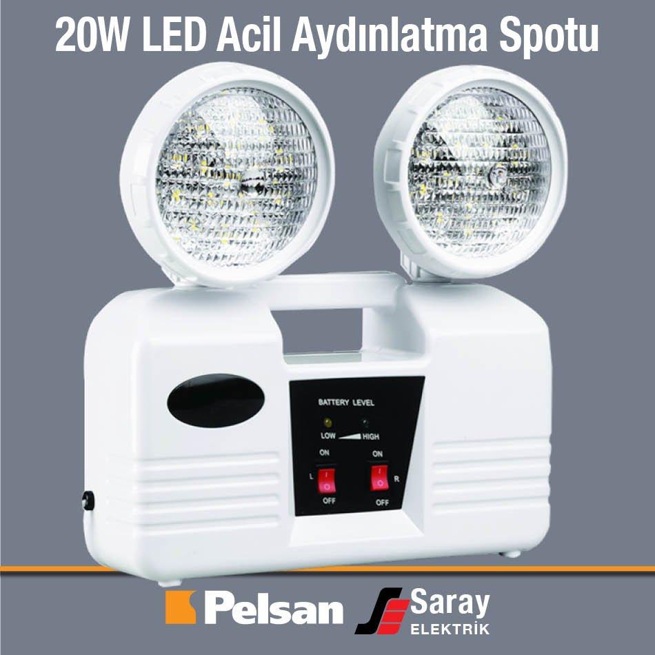 Pelsan 20W LED Acil Aydınlatma Spotu