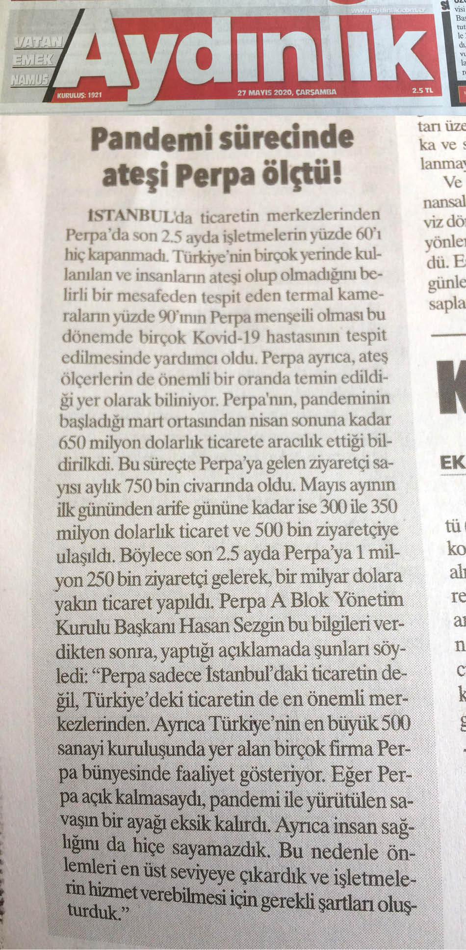 Ulusal Basında Perpa Haberleri Aydınlık Gazetesi
