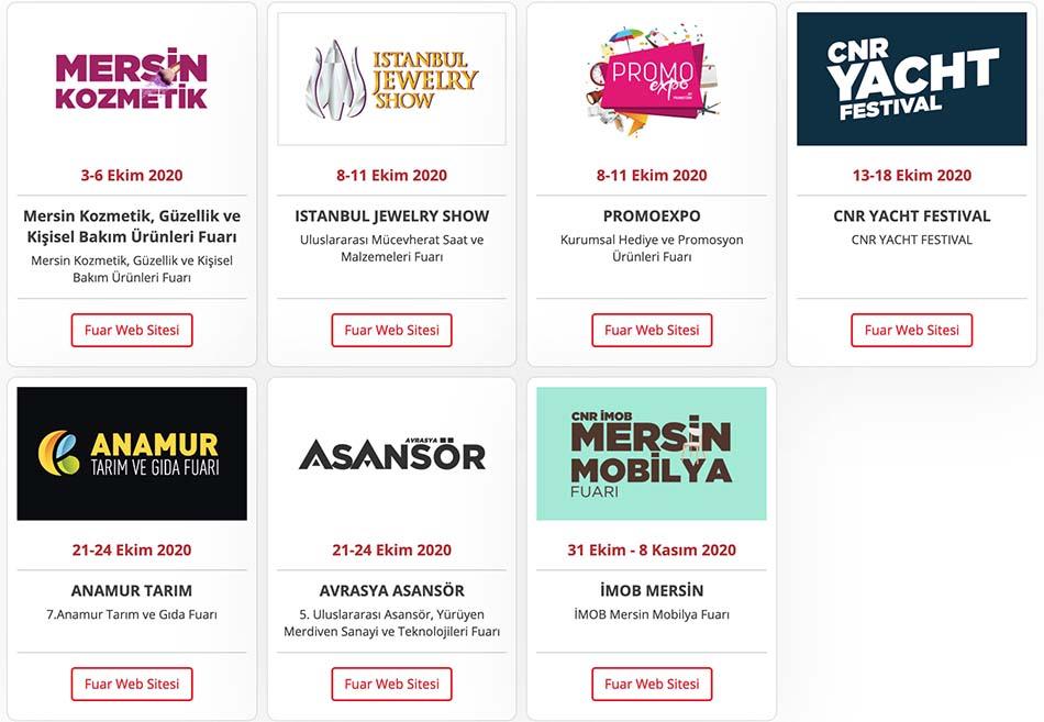 CNR EXPO Ekim 2020 Fuar Takvimi