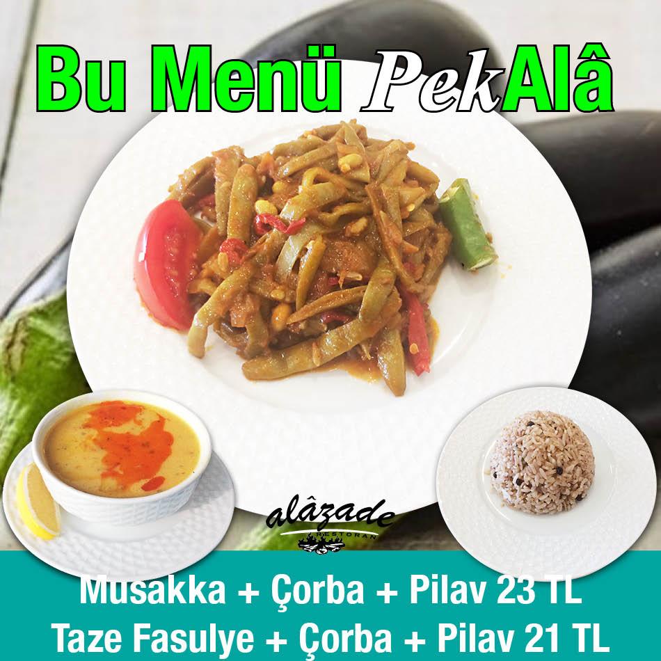 Alazade Restoran 28 Ekim 2020 Günün Menüsü