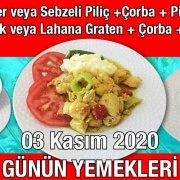 Alazade Restoran 03 Kasım 2020 Günün Menüsü