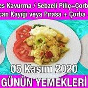 Alazade Restoran 05 Kasım 2020 Günün Menüsü