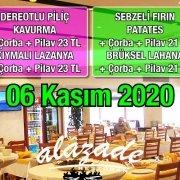 Alazade Restoran 06 Kasım 2020 Günün Menüsü