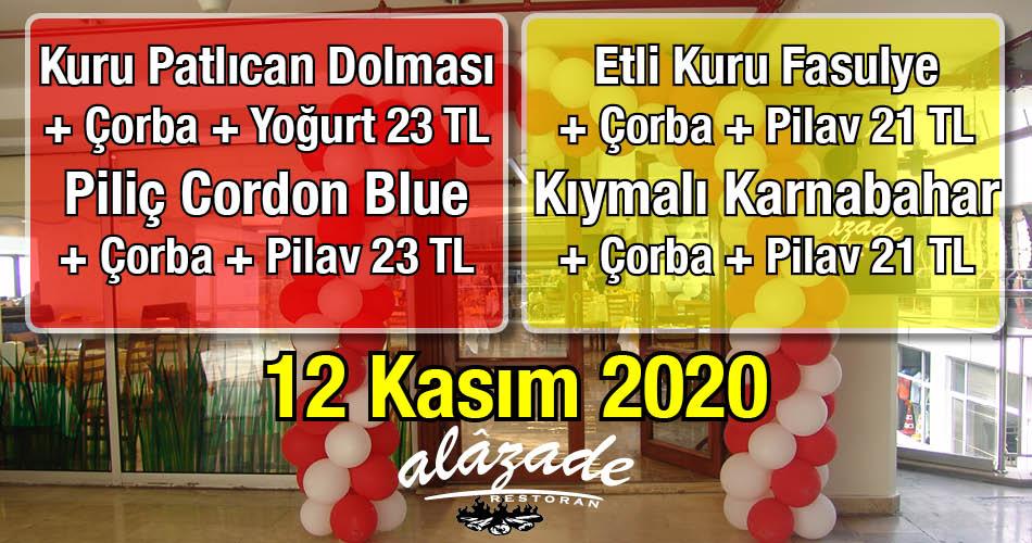 Alazade Restoran 12 Kasım 2020 Günün Menüsü