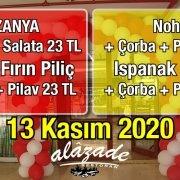 Alazade Restoran 13 Kasım 2020 Gunun Menüsü