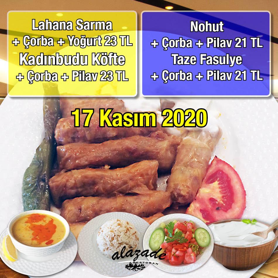 Alazade Restoran 17 Kasım 2020 Günün Menüsü