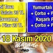 Alazade Restoran 18 Kasım 2020 Günün Menüsü