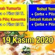 Alazade Restoran 19 Kasım 2020 Günün Menüsü
