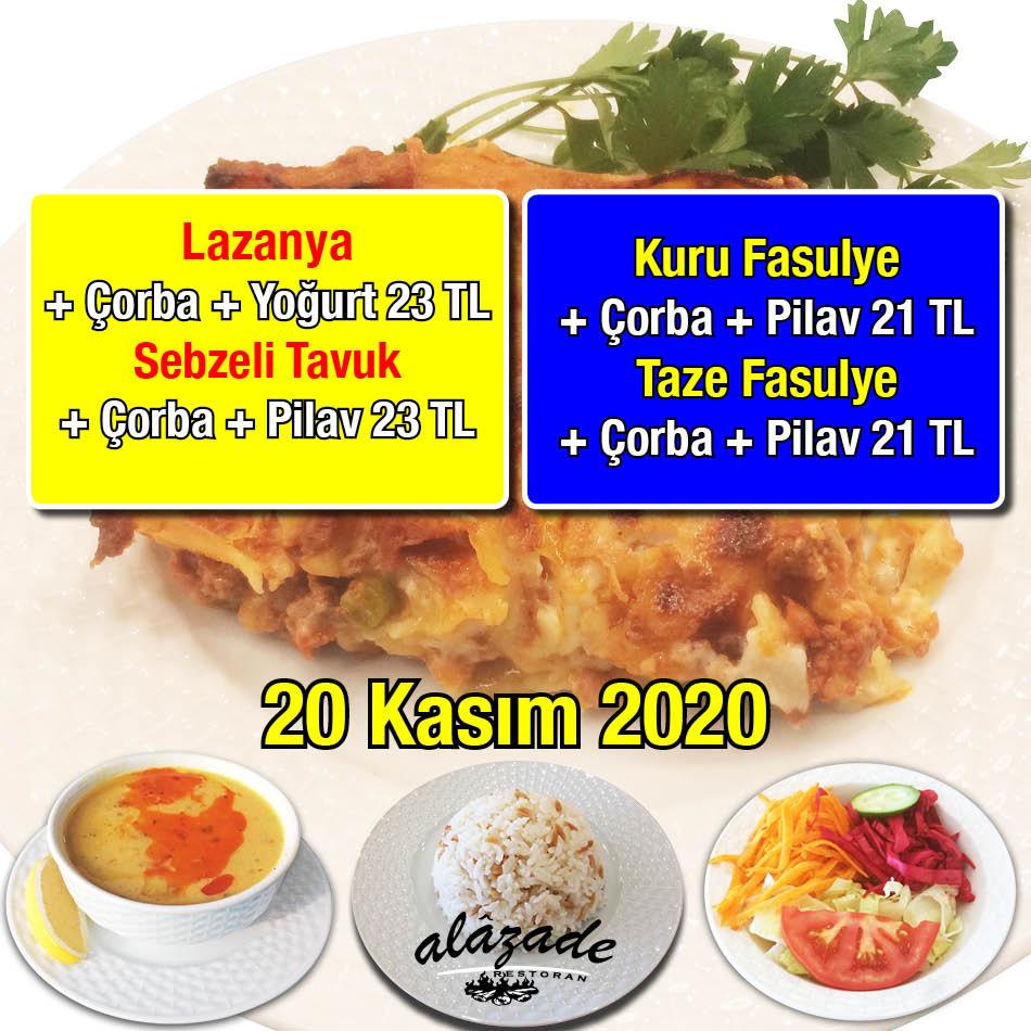 Alazade Restoran 20 Kasım 2020 Günün Menüsü