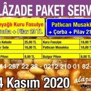 Alazade Restoran 24 Kasım 2020 Günün Menüsü