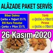 Alazade Restoran 26 Kasım 2020 Günün Menüsü