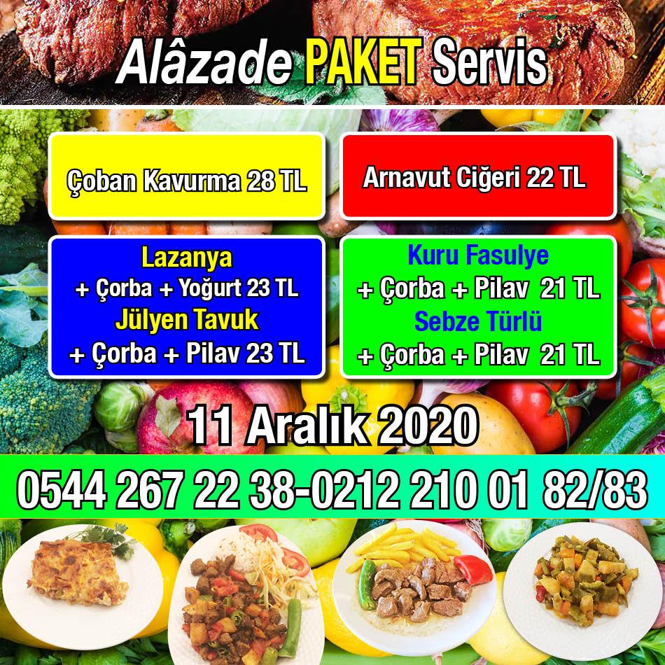 Alazade Restoran 11 Aralık 2020 Günün Menüsü