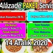 Alazade Restoran 14 Aralık 2020 Günün Menüsü