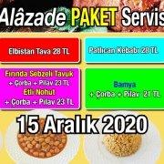 Alazade Restoran 15 Aralık 2020 Günün Menüsü