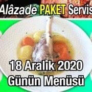 Alazade Restoran 18 Aralık 2020 Günün Menüsü