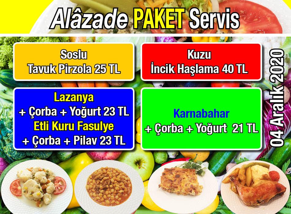 Alazade Restoran 4 Aralık 2020 Günün Menüsü
