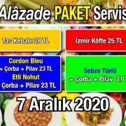 Alazade Restoran 7 Aralık 2020 Günün Menüsü