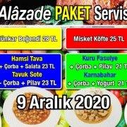 Alazade Restoran 9 Aralık 2020 Günün Menüsü