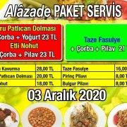 Alazade Restoran 3 Aralık 2020 Günün Menüsü