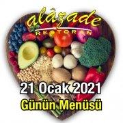 Alazade Restoran 21 Ocak Günün Menüsü