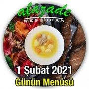 Alazade Restoran 1 Şubat Menü