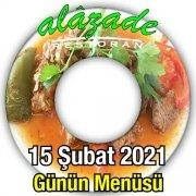 Alazade Restoran 15 Şubat Menü
