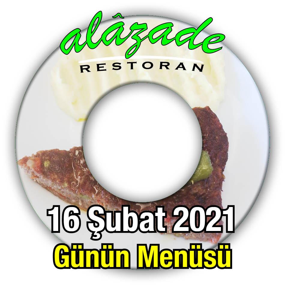 Alazade Restoran 16 Şubat Menü