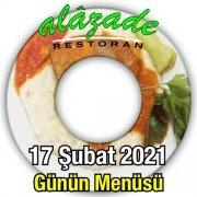 Alazade Restoran 17 Şubat Menü