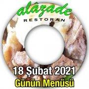Alazade Restoran 18 Şubat Menü
