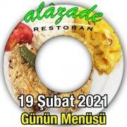 Alazade Restoran 19 Şubat menü