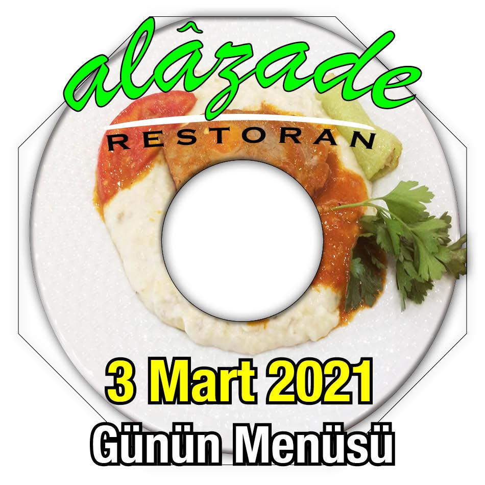 Alazade Restoran 3 Mart Menü