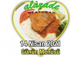 Alazade Restoran 14 Nisan Menü