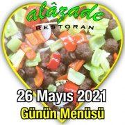 Alazade 26 Mayıs Menü