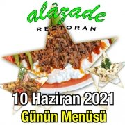 Alazade 10 Haziran Menü