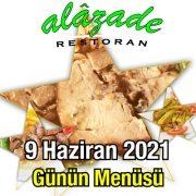 Alazade 9 Haziran Menü
